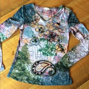 Colorful embellished Cache long sleeve shirt Small